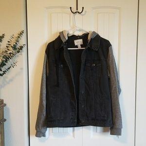 Hooded Black Denim Jacket